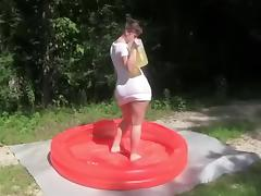 Sexy immature gets horny in the pool tube porn video