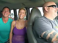 A couple of guys hook up in a bus and fuck on the open road tube porn video