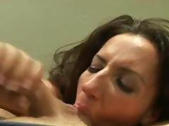 Richelle Ryan drops to her knees and sucks a mean cock in a POV video tube porn video