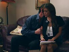 Melanie Rios sucking cock and getting pussy banged hardcore in office couch tube porn video