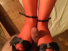 holloween red stockings footjob! tube porn video