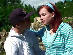 Fantastic redhead blows and gets fucked doggystyle in the yard tube porn video