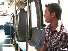 Nasty gay Luke Milan enjoys having sex in cowboy pose in a bus tube porn video