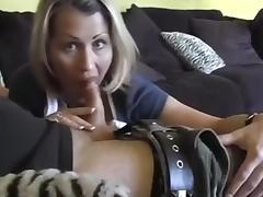 Lustful blonde MILF gives deepthroat blowjob on camera tube porn video