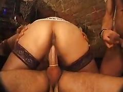 French Mature and young womenin a private club tube porn video