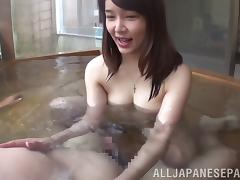 Asian cowgirl with natural tits screaming while getting screwed hardcore in pov pool shoot tube porn video