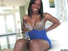 Fabulous ebony shemale with a nice ass milking his cock close up tube porn video