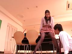 Asian teacher with nice ass in nylon stockings getting the pleasure of vibrator tube porn video