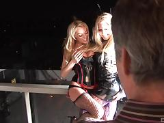 Foxy blonde babes in sexy stockings enjoy getting fucked hardcore in a fascinating ffm threesome tube porn video
