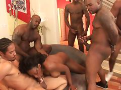Hot group banging with naughty porn hottie Nyomi Banxxx in nasty fuck action tube porn video