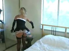 Aaliyah Love wearing stockings masturbates her snatch with a dildo tube porn video