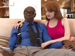 Black stud Sean Michaels makes redheaded Abby Rains cum on his cock tube porn video