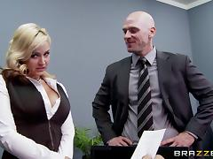 Johnny Sins fucking the shit out of his busty boss in her office tube porn video