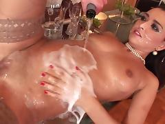 Porn star waiters gang bang brunette and serves her a healthy dose of champagne and facial cum shot tube porn video