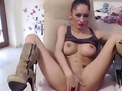 Slutty Brunette Toys Puss & Fingers Ass On Cam tube porn video