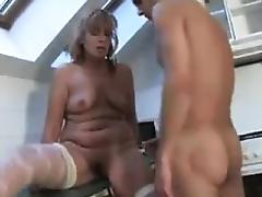 Old Pussy Getting Abused In The Kitchen tube porn video