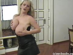 Blond mom Bea Flora wearing corset shows her big boobs tube porn video