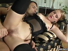 Lingerie wearing seductress gets rough ass fu tube porn video