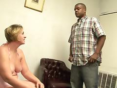 Plump short haired mature feasts her pussy and mouth on black cock tube porn video