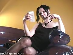 She looks amazing in stockings and high heels while relaxing tube porn video
