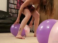 Tattooed solo model in miniskirt erotically playing with balloons tube porn video