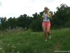 An old fart screws a delightful blonde teen outdoors tube porn video