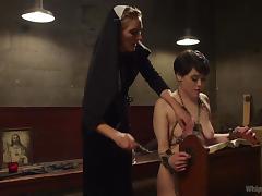 audrey has some sadistic fun with sexy nun tube porn video