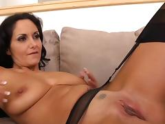 Brunette mom in pantyhose ava addams riding cock tube porn video