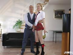 A cute coed in her uniform enjoys an older guy's cock tube porn video
