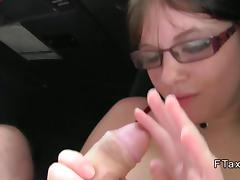 Horny British babe banging in a cab in public tube porn video