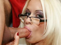 Sexy blonde Stacy Silver sucking a pepper hard tube porn video