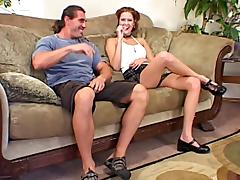 Redhead dame in miniskirt screaming while being smashed hardcore on sofa tube porn video