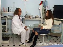 Doctor and his sexy teen patient fuck in the exam room tube porn video
