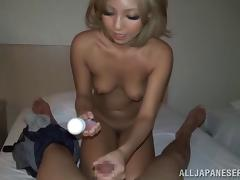 Tiny tits Asian beauty jerks a cock until she gets covered with jizz tube porn video