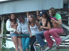 Randy teens on water ride enjoys stripping and displays ass and tits tube porn video