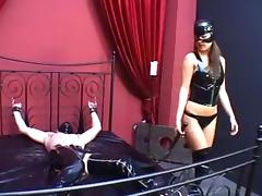 Femdom dominatrix spank and turture hard belly of slave tube porn video