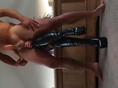 Platform boots handjob in the mirror tube porn video