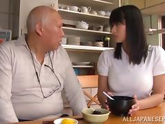 Pretty Asian chick with big boobs sucking an old man's cock tube porn video