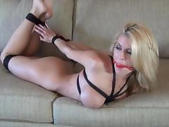 Bound, gagged and butt plugged blonde. tube porn video