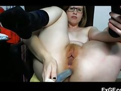 Kinky redhead bangs her asshole tube porn video