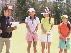 Japanese golfing girls strip on the course and swing naked tube porn video