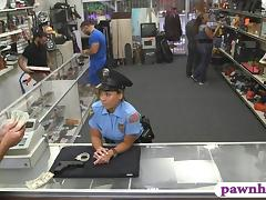 Huge boobs security officer pounded at the pawnshop tube porn video