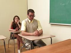 Nerd fucks sporty girl Jojo Kiss in the classroom tube porn video
