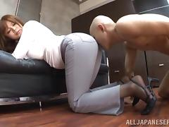 A curvy Asian model with a round ass sits on a guy's face tube porn video