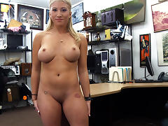 Horny and blonde stripper tries to sell her pole gets fucked tube porn video