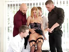 Insatiable bitch gets gangbanged & fucked in all her holes tube porn video