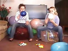 2 Girls Popping Balloons tube porn video