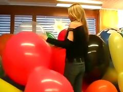 Sexy girl massacres huge balloons part 1 tube porn video