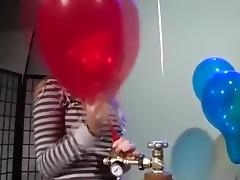 Girls to pump inflate balloons pop to blow tube porn video