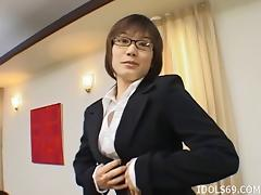 Very giving Asian businesswoman gives her boss some great head tube porn video